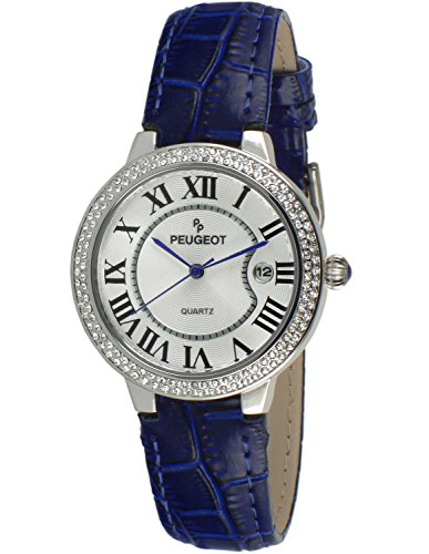 Bezel Silver White Leather (Peugeot Women's 3043SBL Silver Crystal Bezel Blue Leather Strap Analog Display Quartz Blue Watch)