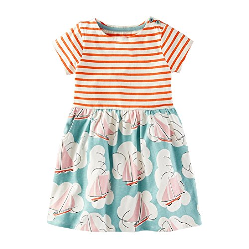 Nuziku Little Girls Summer Casual Dresses Cotton Striped Printed Short Sleeves Cute Dresses for Baby Toddler (Sailing Boat, (Sailing Boat Costume)