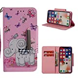 Leather Wallet Case iPhone X,Shinyzone Cute Cartoon Butterfly Elephant Painted Pattern Flip Stand Case,Wristlet & Metal Magnetic Closure Protective Cover
