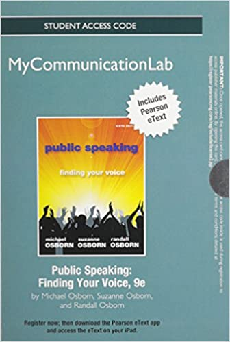 public speaking mycommunicationlab access code finding your voice includes pearson etext