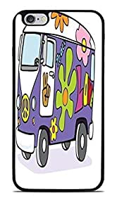 Groovy VW Bus Flower Power Black Silicone Case for iPhone 6+ (5.5)