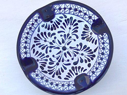 Talavera Ceramic Ashtray 5'' Modern Art Design Authentic Puebla Mexico Pottery Hand Painted Design Vivid Colorful Art Decor Signed [Classic Blue Star]