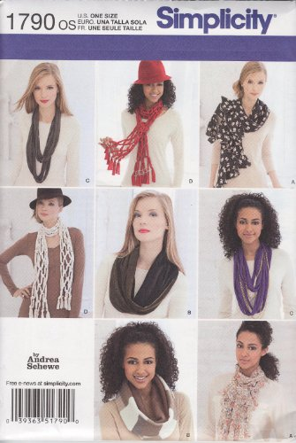 Scarf Pattern - Simplicity 1790 Scarves Sewing Pattern, Size OS (One Size)