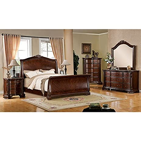 Penbroke Antique Baroque Style Brown Cherry Finish Cal King Size 6 Piece  Bedroom Set