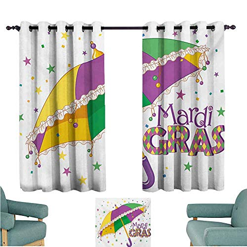 DONEECKL Windshield Curtain Mardi Gras Parade Preparations Umbrella Stars Confetti Figures Joyful Fun Party Blackout Draperies for Bedroom Living Room W63 xL45 Purple Yellow Green