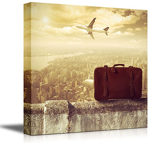 - wall26 - Canvas Prints Wall Art - Concept of Travel by Airplane (Travel, Vintage, Suitcase) | Modern Wall Decor/Home Decoration Stretched Gallery Canvas Wrap Giclee Print. Ready to Hang - 24