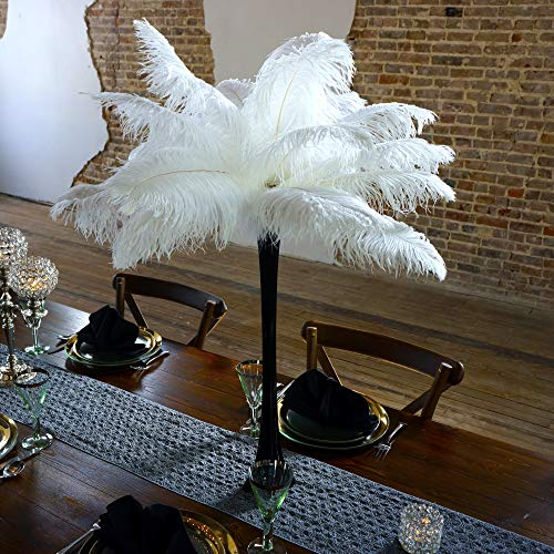 ZUCKER® 24 pc 13-16 inch Ostrich Feather Center Piece Set - 24 inch Eiffel Tower Vase Wedding Decorations Black and White -
