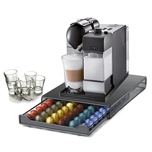 DeLonghi Lattissima Plus Capsule Silver Espresso and Cappuccino Machine with 60 Capsule Storage Drawer and Free Set of 6 Italian Espresso Shot Glasses by DeLonghi