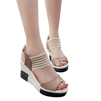 adf8339dd45d8e LONUPAZZ 2019 Ete New Sandales Compensees Femme Casual Wedge Chaussures  Ceinture Boucle Haut Talon Chaussures De