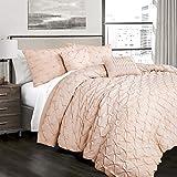Lush Decor Ravello Shabby Chic Style Pintuck Blush 5 Piece Comforter Set with Pillow Shams King