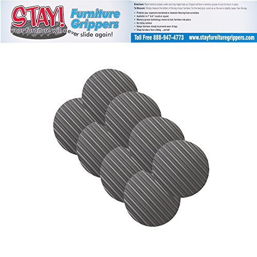 Stay! Furniture Pads, Round Furniture Grippers, Gripper Pads, Furniture Pads for Hardwood Floors and Carpet, Anti-Slip | Round, Gray, Set of 8 (4'') by Stay Furniture Grippers (Image #2)