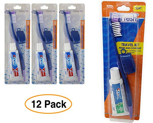 ToothBrush & Cover Travel Kit with Crest Toothpaste (12 Pack)