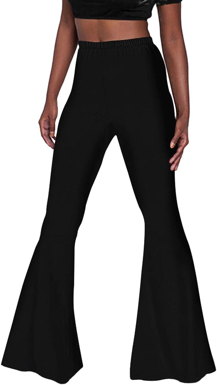 Pink Wind Women's Bell Bottom Pants High Waist Flare Boho Print Maxi Trousers: Clothing