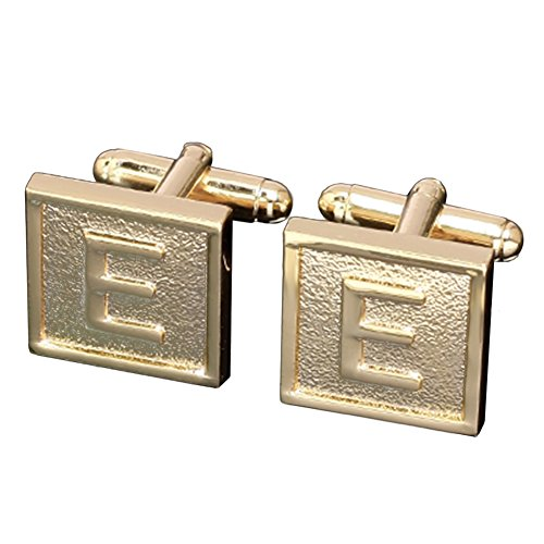MGStyle Cufflinks For Men - Capital Initials Letter E - Gold Tone - Square - Alloy with Deluxe Gift Box 14k Green Cufflinks