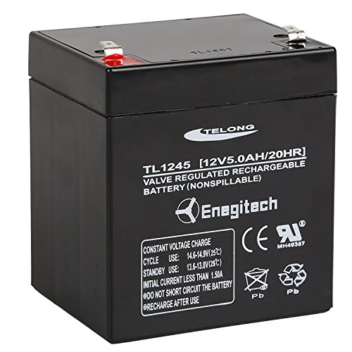 Enegitech 12v 5ah sealed lead acid battery for craftsman for 12v battery garage door opener