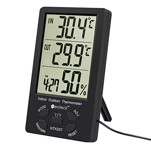 Neoteck Thermometer Indoor Temperature Meter Hygrometer with Large LCD Display 1.5m Sensor Wire Air Condition Management for Indoor Temperature Humidity Outdoor Temperature Monitor-Black by Neoteck