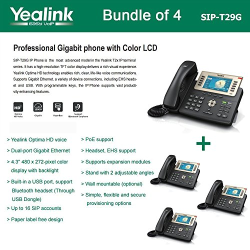 (Yealink SIP-T29G Bundle of 4 Enterprise 16 Line HD IP Phone PoE support, No PSU)