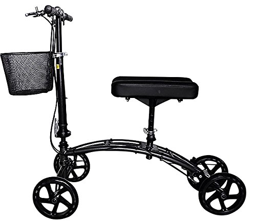 Deluxe Dual Brake Steerable Knee Walker with Basket, Alternative to Crutches, Knee Scooter, Black