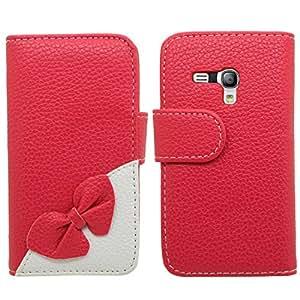 Ejecutivo Samrick especialmente diseñadas de cuero suave del arco billetera libro de la carpeta con el titular de la tarjeta de crédito / tarjeta de visita para Samsung Galaxy S3 mini-roja