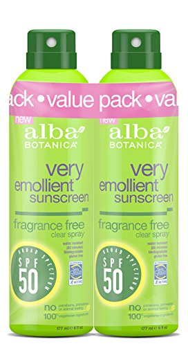 Alba Botanica Very Emollient SPF 50 Sunscreen Fragrance Free Clear Spray, 2 Count