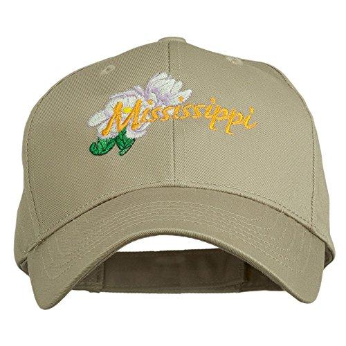 (e4Hats.com USA State Mississippi Flower Southern Magnolia Embroidery Cap - Khaki OSFM)