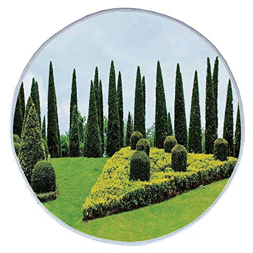 YOLIYANA Country Home Decor Comfortable Round Pet Rug,Classic Formal Designed Garden with Evergreen Shrubs Boxwood Topiaries for Pet,Diameter 23 Inches