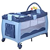 4 in 1 Convertible Crib with Changing Table Attached New Blue Baby Crib Playpen Playard Pack Travel Infant Bassinet Bed Foldable