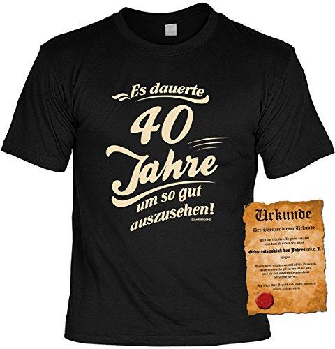 T-Shirt mit Urkunde - Es dauert 40 Jahre um so gut auszusehen - Geschenk Set mit lustigem Spruch als ideales Geburtstagsgeschenk