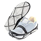 Aolvo Walk Traction Cleats, Crampons Non-slip Rubber and Steel Winter Ice Gripper Shoes Cover for Jogging, Hiking and Walking on Snow and Ice - Black