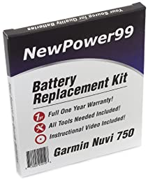 Garmin Nuvi 750 Battery Replacement Kit with Installation Video, Tools, and Extended Life Battery. # 010-00583-00