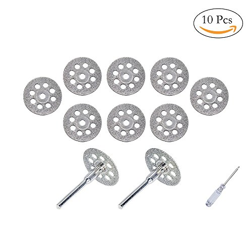 545 Diamond Dremel Cutting Wheel (22mm) 10pcs with 402 Mandrel (3mm) 2pcs and Screwdriver by MoArmor