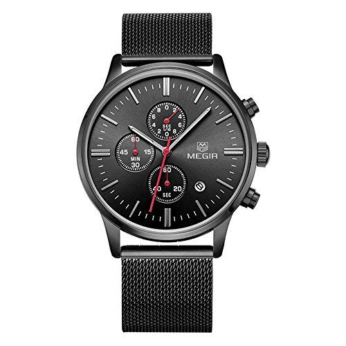 Mens M2011GH Stainless Steel Calender Alloy Business Formal Quartz Wrist Watch for Man Black