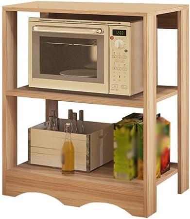 MyYztsj-kitchen rack Creatividad Cocina Horno de microondas Repisa para ollas Electrodomésticos Horno Estante Accesorios para el hogar Muebles de Pared Madera de 3 Capas Madera Clara: Amazon.es: Hogar
