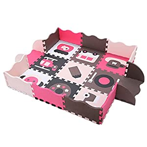 lulalula Foam Play Mat, 25 Pcs Thick Baby Jigsaw Fence Game Crawling Mat Soft Floor Tiles for Baby Kids Children…