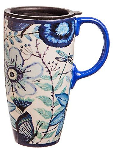Shades of Indigo Flowers and Butterflies Ceramic Travel Coffee Mug 17oz (Coffee Travel Mug For Women compare prices)