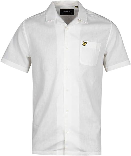 Lyle & Scott Camisa Blanca de Manga Corta de Panamá: Amazon.es ...