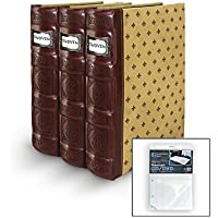 Bellagio-Italia Tuscany Crimson DVD Storage Binder Set - Stores Up To 176 DVDs, CDs, or Blu-Rays - Stores DVD Cover Art - Acid-Free Sheets