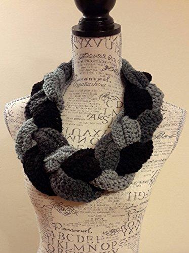 Amazoncom Crochet Braided Black And Gray Cowl Infinity Cowl