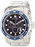 Invicta Mens 0070 Pro Diver Collection Analog Chinese Quartz Chronograh Silver-Tone/Blue Stainless Steel Watch