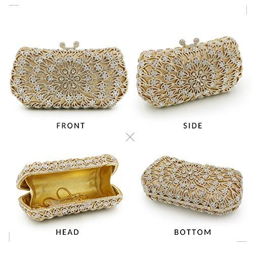 Milisente Mujer Flor Cristal Noche Bolsos Boda Clutch Embrague (AB Plateado) Gold