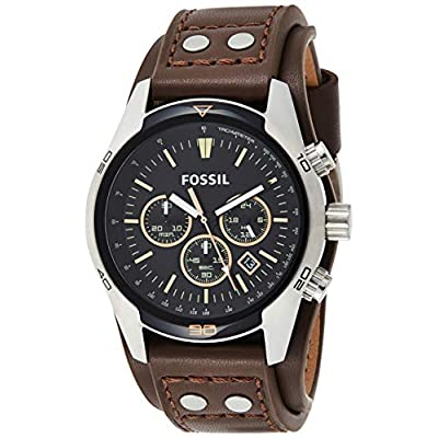 Fossil Men's Coachman Quartz Leather Watch Brown Color: Chronograph Silver Model: Wallet