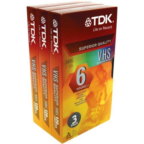 TDK 120 min VHS Video Cassette (3-Pack)