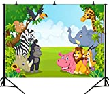 DePhoto 7X5FT(210X150CM) Cartoon Jungle Safari Themed Animals Party Seamless Vinyl Photography Backdrop Photo Background Studio Prop PGT135A