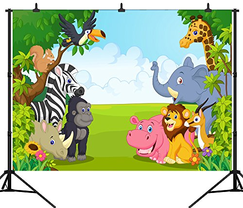 - DePhoto 9X6FT(270X180CM) Cartoon Jungle Safari Themed Animals Party Seamless Vinyl Photography Backdrop Photo Background Studio Prop PGT135B