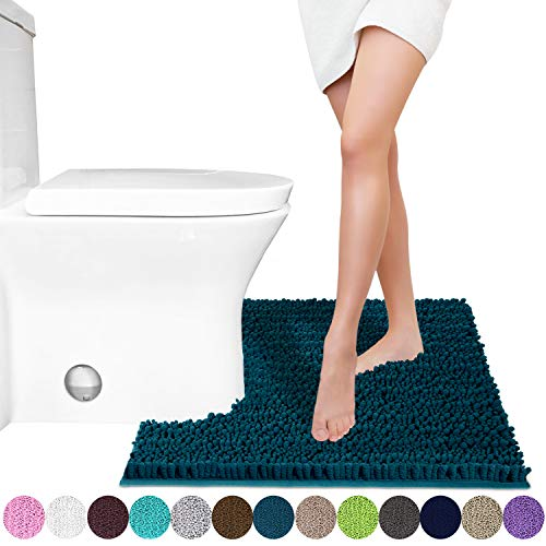 Yimobra Luxury Shaggy Toilet Bath Mat U-Shaped Contour Rugs for Bathroom, Soft and Comfortable, Maximum Absorbent, Dry Quickly, Non-Slip, Machine-Washable, 24.4 X 20.4 Inches, Peacock Blue (Blue Peacock)