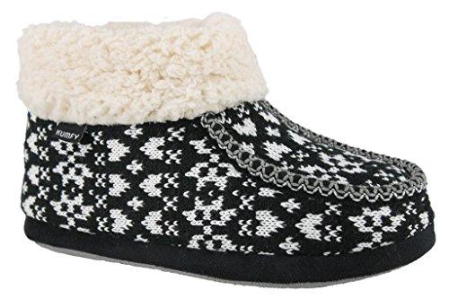 Ladies Fleece Sherpa Bootie Slipper Black z2trP