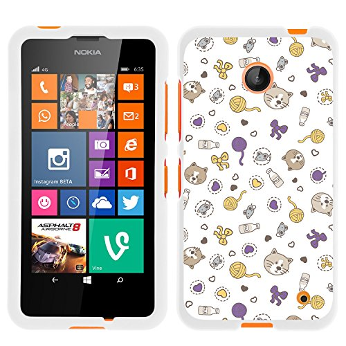 Lumia 635, Slim Hard Shell Snap On Case with Custom Images for Nokia Lumia 635 (AT&T, Sprint, T Mobile, Virgin Mobile, Boost Mobile, MetroPCS) from MINITURTLE | Includes Clear Screen Protector and Stylus Pen - Cat Play Things