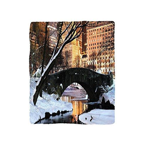 VROSELV Custom Blanket NYC Collection New York City Manhattan Central Park Lake Bridge In Freezing Winter At Dusk Panorama Soft Fleece Throw Blanket Brown Black White