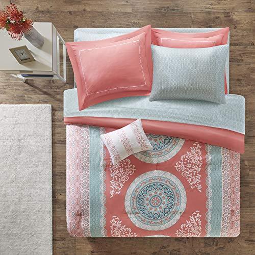 Intelligent Design Loretta Comforter Set Queen Size Bed in A Bag - Coral, Aqua, Bohemian Chic Medallion - 9 Piece Bed Sets - Ultra Soft Microfiber Teen Bedding for Girls Bedroom
