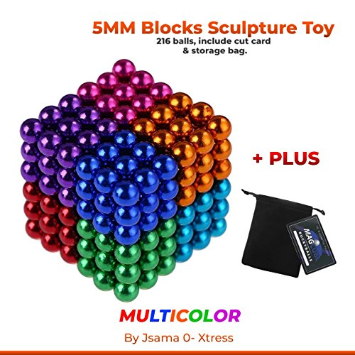 Jsama Magnetic Cube 216pcs Rolytoy Magnets Blocks Magnetic Sculpture Holders Square Cube Children's Puzzle Magic Cubes DIY Educational Toys for Kids (Colorful 1, 5mm With a STORAGE BAG & CUT CARD ) by Jsama O-Xtress